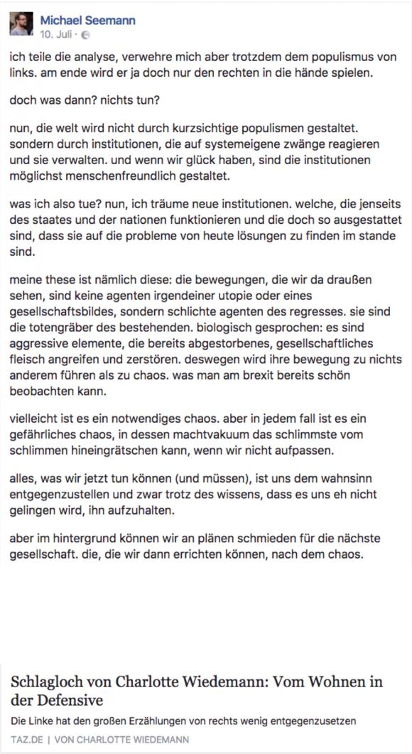 Seemann zu Wiedermann-Text in der taz