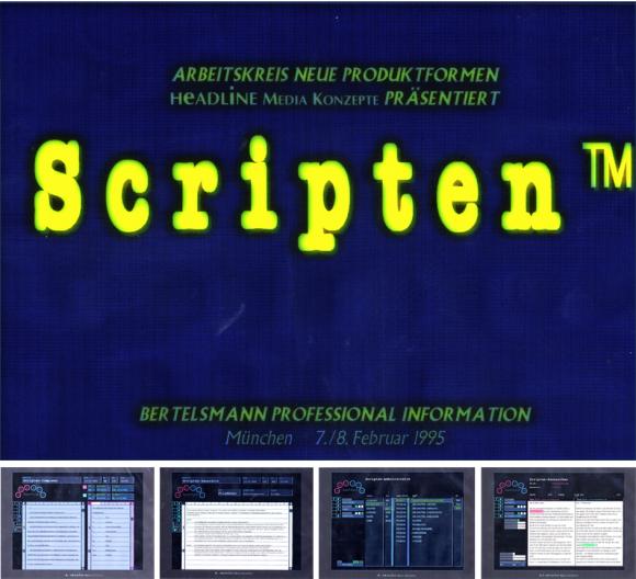 Homescreen der Datenbank-Software Scripten und vier Screens von Programmfunktionen