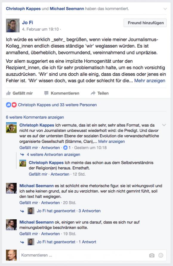 """Ausschnitt aus einer Facebook-Diskussion über """"wir"""""""