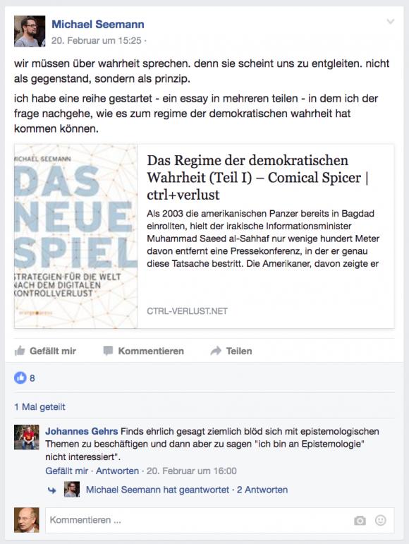 Facebook-Eintrag zum besprochenen Text