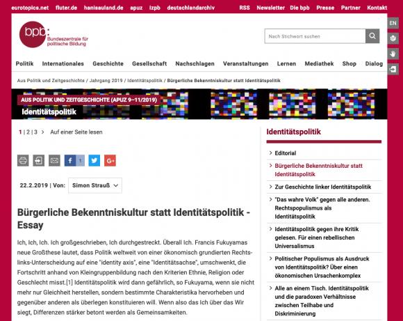 Simon Strauss veröffentlicht sein Essay auf bpb.de
