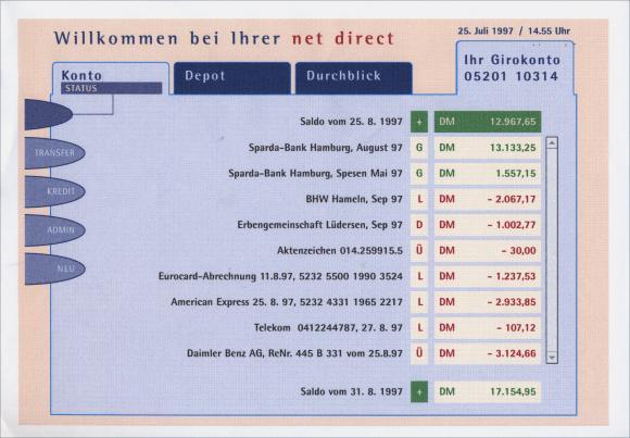 Beispielhafter Programmscreen des Konzeptes der NetBank