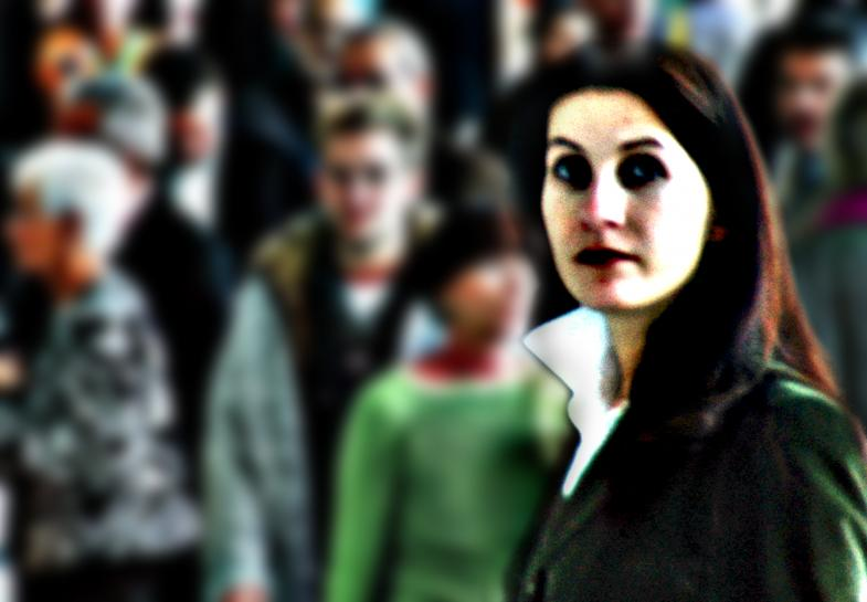 Frau auf der Frankfurter Messe