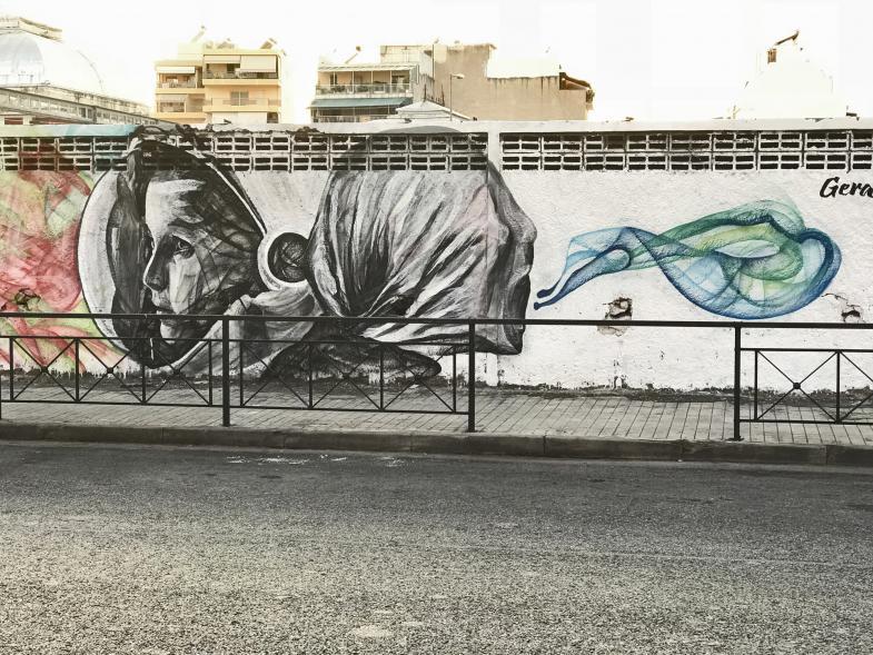 Bauzaunbemalung in Athen