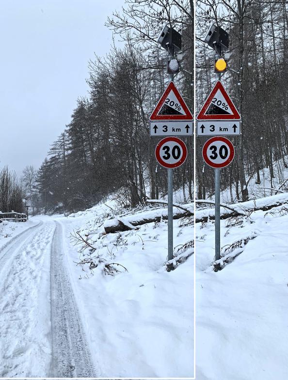 Fehrenschild mit Bewegungsmelder für Warnlicht