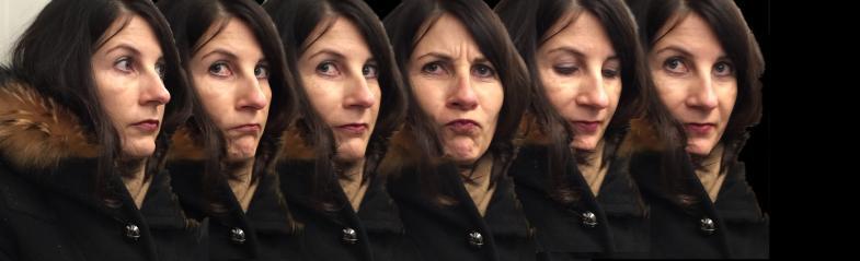 Serienbild von einer Frau mit Grimassen, aneinandermontiert