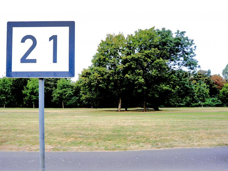 Schild am Mainufer bei Sindlingen:  21