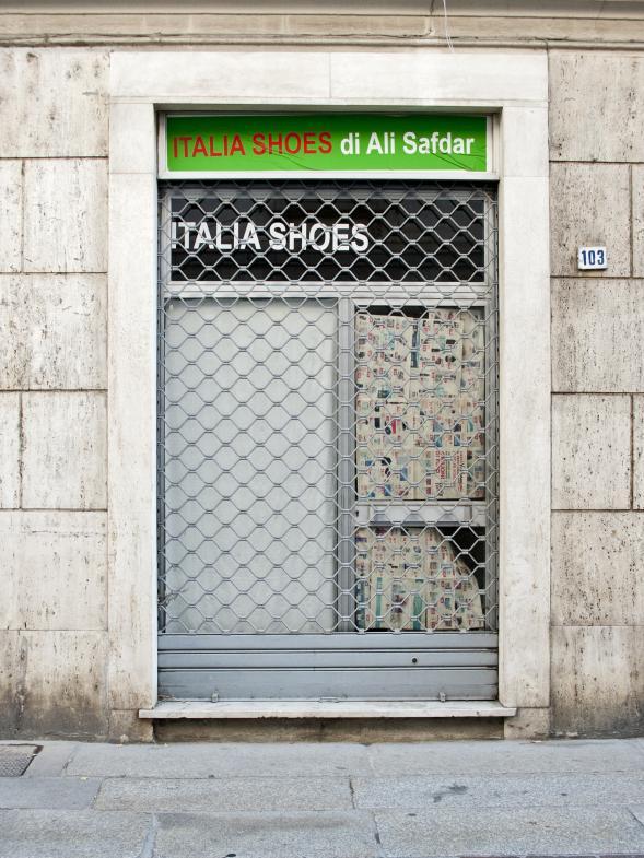 Ein geschlossenes Schuhgeschäft