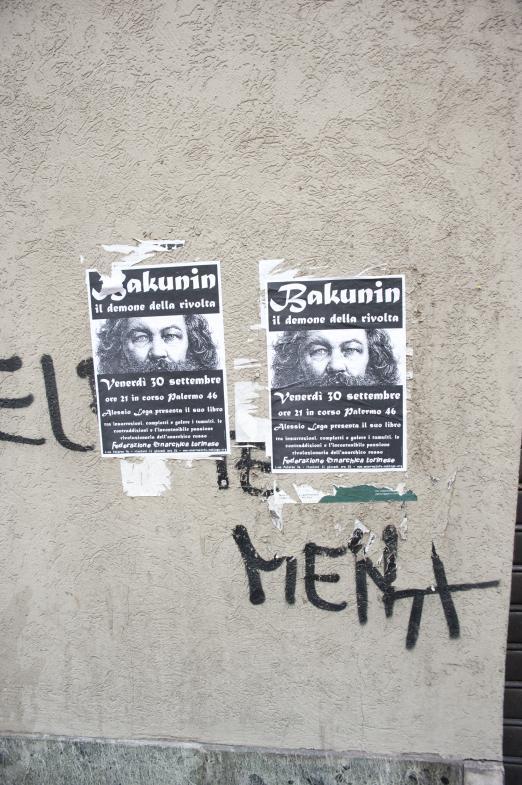 Politisches Plakat in Turin (Bakunin)