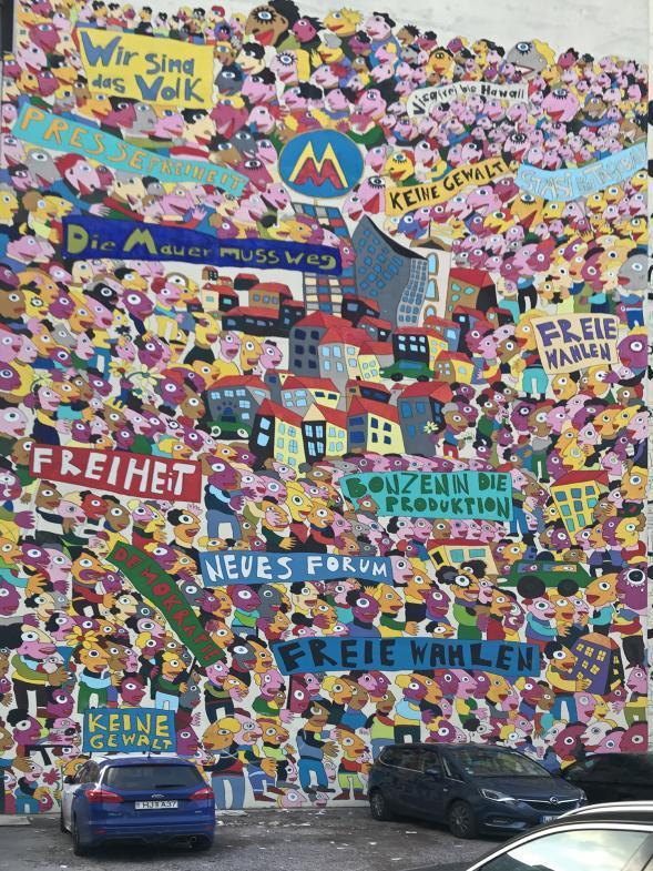 Hauswandbild in Leipzig: Wir sind das Volk